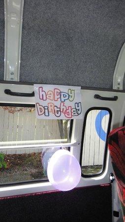 Bay Tours Nelson: Van - nice birthday signs :)