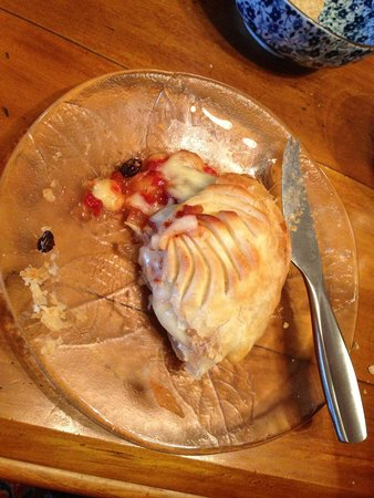 Pen-y-bryn Lodge: Whitestone Brie, filled with homemade chutney and pastry-baked. just a 'wee snack'! divine!