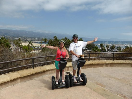 Segway of Santa Barbara: Two happy Segwayers overlooking Santa barbara waterfront