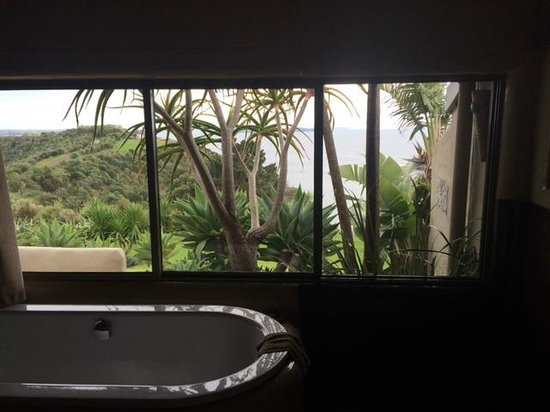 Delamore Lodge: Bathroom and view