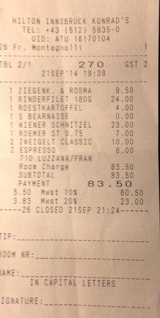 Konrads Austrian Steaks: Take a look to 7 euros for a bottle of water!