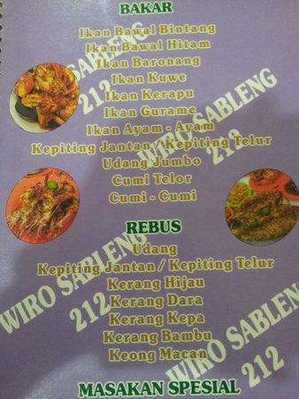 212 Wiro Sableng : menu