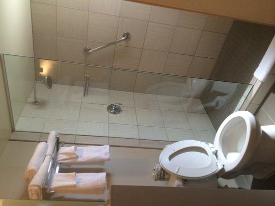 Gold Coast Hotel and Casino: Bathroom with no shower door. Water pressure is excellent, plenty hot water.