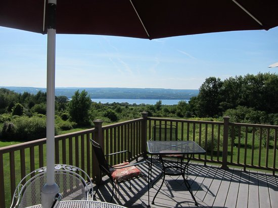 The Fox and the Grapes Bed and Breakfast: Deck overlooking Seneca Lake