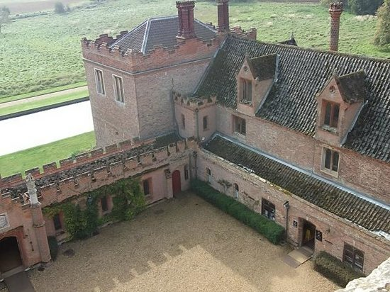 Oxburgh Hall: View in to the courtyard from the roof