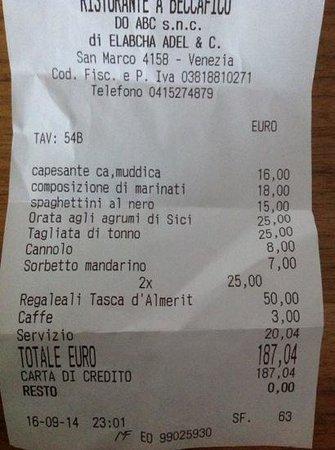 A Beccafico Santo Stefano: la cuenta