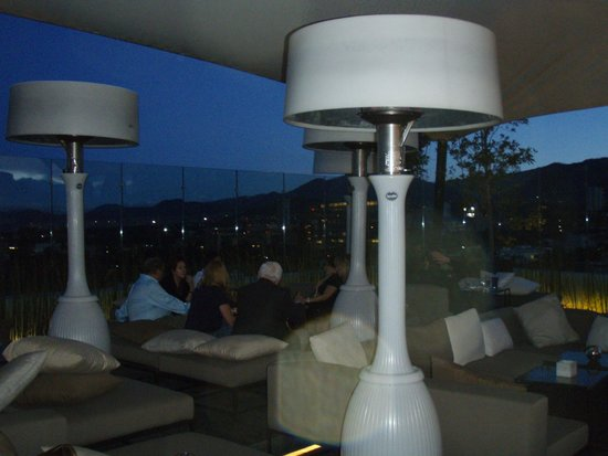 The Westin Santa Fe Mexico City: The heaters and the night view at El-Even rooftop lounge