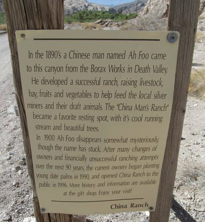 China Ranch Date Farm : Sign describing the start of China Ranch
