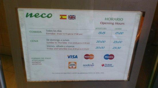 Neco Buffet Mediterraneo: часы работы
