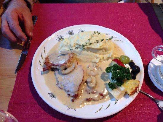 Staeger Stuebli: A Swiss dish, pork with mushroom sauce.