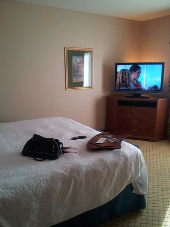 Hampton Inn & Suites Pittsburg: King sized bed and TV