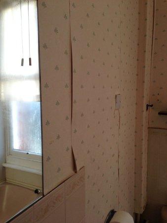 Hillingdon Prince Hotel: Peeling bathroom wallpaper