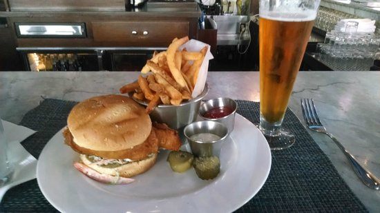 Blue Point Grille: Walleye sandwich and Dortmunder Gold beer