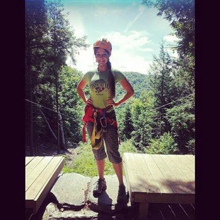 Berkshire East Canopy Tours: At the top of one of the extreme zips on the Berkshire East Valley Tour!