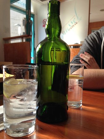 Mussel and Steak Bar: Water by the bottle