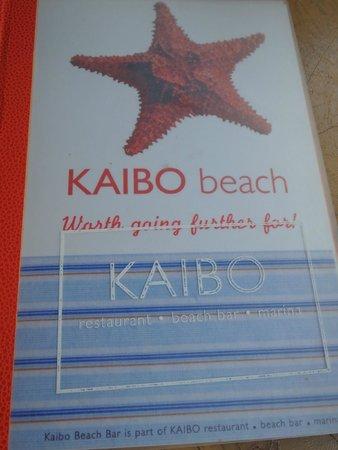KAIBO Beach Restaurant: Menu.
