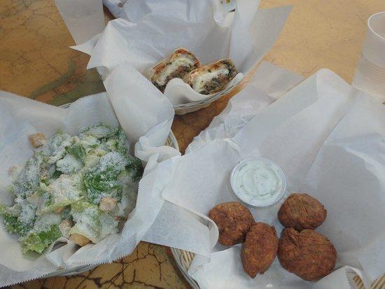 KAIBO Beach Restaurant: Veggie wrap, Caesar salad and falafal with tzatziki.