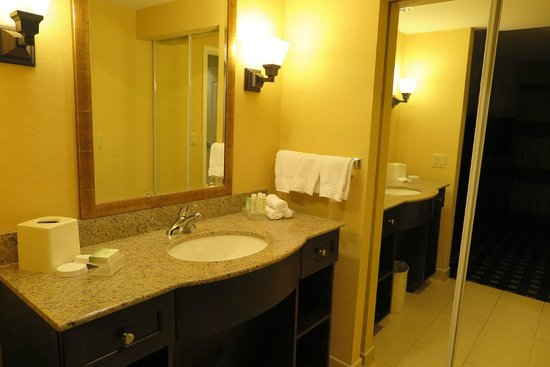 Homewood Suites by Hilton Toronto Airport Corporate Centre: Sink area separated by a door from toilet/shower