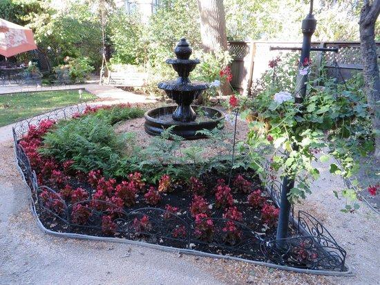 Beazley House: garden area fountain
