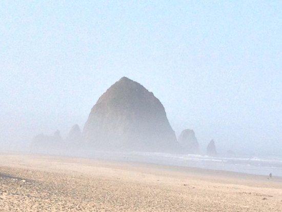 Webb's Scenic Surf Motel: Haystack Rock on a misty morning