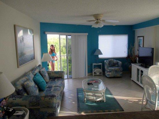 Ocean Pointe Suites At Key Largo Living Room Looking Toward Small Balcony