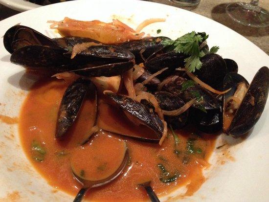 Fineline Bistro: (Half-eaten) Delicious chipotle mussels