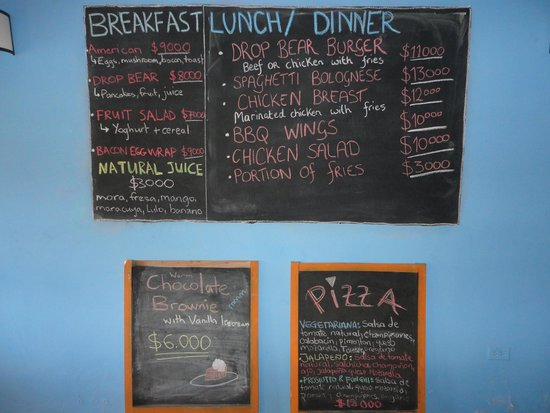 Drop Bear Hostel: Menu/prices Breakfast-Lunch-Dinner
