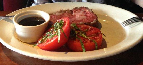 J Alexander's Restaurant: Prime rib with beefsteak tomatoes