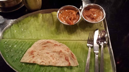 Karavalli: Some roti and the two dishes we got,  an appam came later