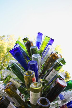 The Flying Frog Bed and Breakfast: A bottle tree is a good way to recycle wine bottles!