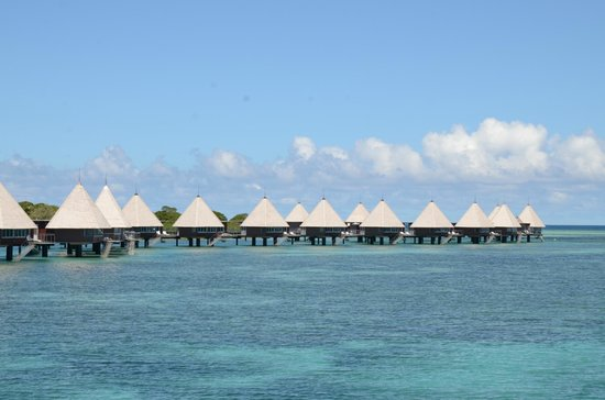L'Escapade Island Resort: View of the overwater bungalows from the boat