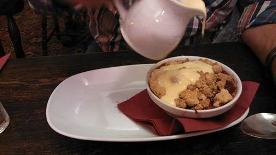 The Angel Inn: Apple and Blackberry Crumble with Custard