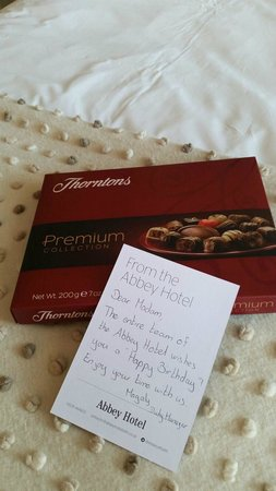 The Abbey Hotel: Birthday message & chocolates from the hotel team