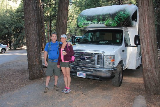 Upper Pines Campground: At our campsite ready to explore the day before Half Dome hike.