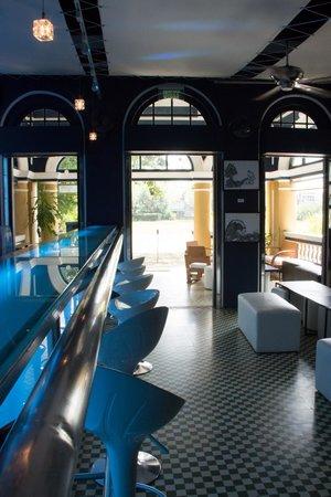 Bar area looking towards the front door of the Blue Elephant restaurant