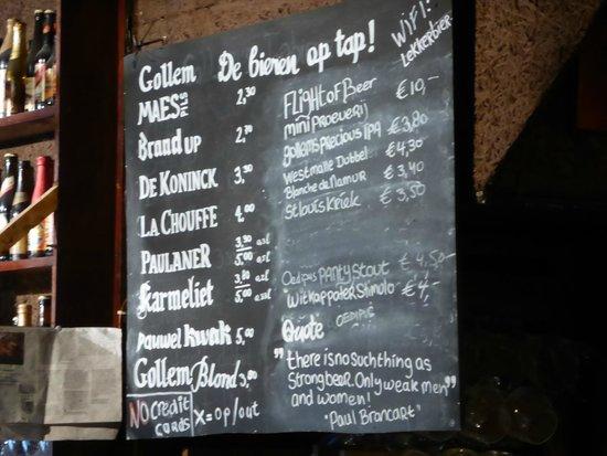 Biercafe Gollem: on tap