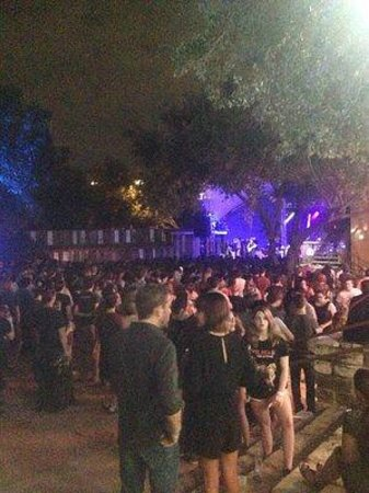 Stubb's Bar-B-Q: Obstructed view from behind tree