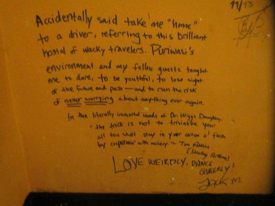 Puriwasi Hostel: Mi mensaje en el muro de Puriwasi: Fue mi segunda casa