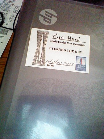 Titan Missile Museum : my keepsake from my tour!