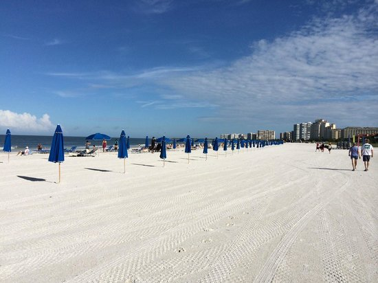 Beach At Hilton Marco Island Resort Spa As Umbrellas Are Set Up