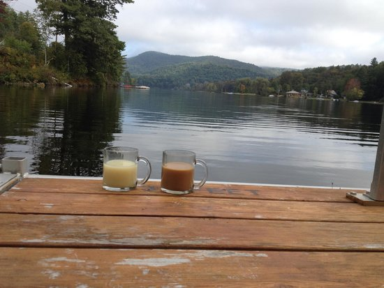 September coffee on the lake at Inn At Water's Edge, Ludlow, VT