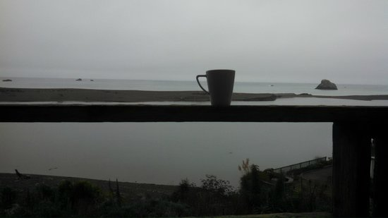 River's End Resort: Morning coffee on our deck