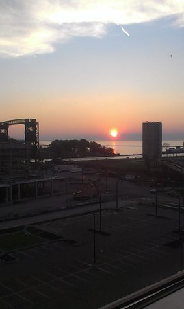 Aloft Cleveland Downtown: Sunset view from the room.