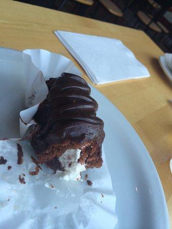 Source. Chocolate sponge cake with vanilla cream filling.
