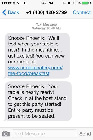 Text messages - Picture of Snooze A M  Eatery, Phoenix