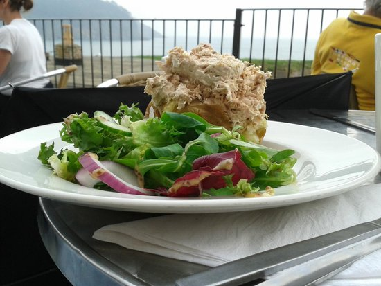 Dartmouth Castle Tea Rooms : Tuna Jacket 'with a view'