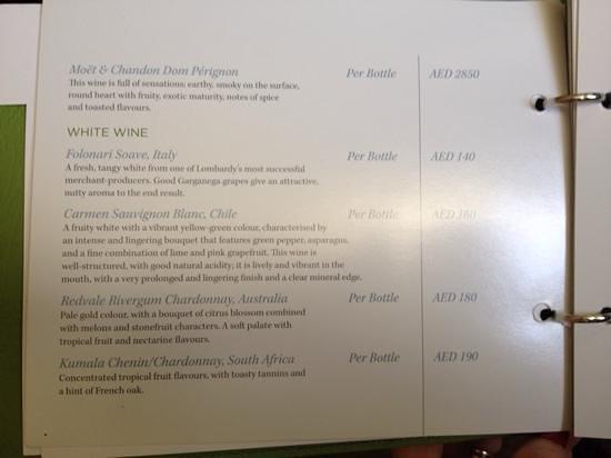 Ossiano: Jeble Ali Palmtrees White Orchid menu