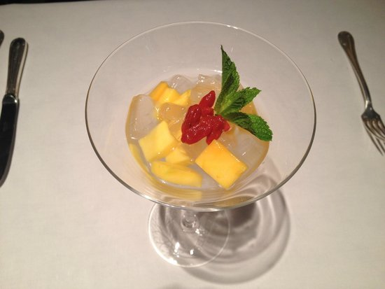 Chilled Mango Cream with Pomelo and Sago