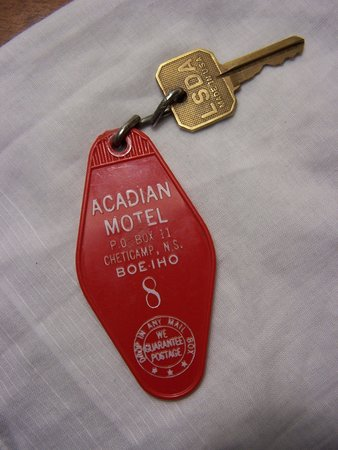 "Acadian Motel: Old-fashioned ""high-security"" key."
