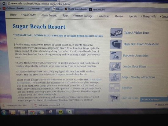 Sugar Beach Resort: Keep scrolling - you must really search to find important disclosures like pool closure/construc